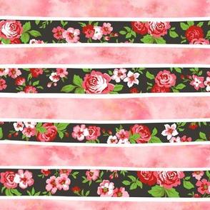 Wavy Floral Watercolour Stripes Peach Pink