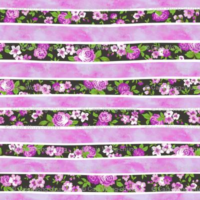 Wavy Floral Watercolour Stripes Purple