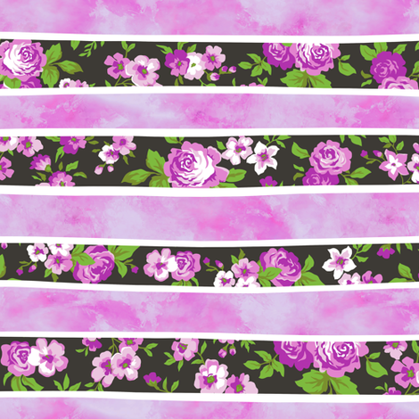 Wavy Floral Watercolour Stripes Purple fabric by caja_design on Spoonflower - custom fabric