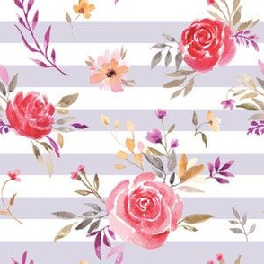 Autumnal Roses on Lavender Gray & White Stripes
