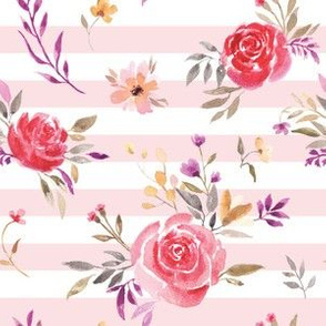 Autumnal Roses on Pink & White Stripes