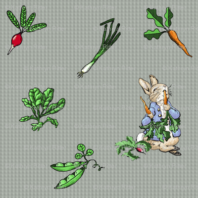 Peter Rabbit Vegetable Toss - Gray Gingham - Large Scale