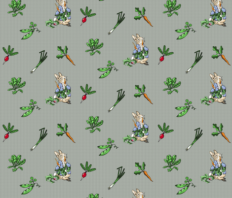 Peter Rabbit Vegetable Toss - Gray Gingham - Large Scale fabric by aspenartsstudio on Spoonflower - custom fabric