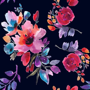 Multi Colorful Watercolor Florals on Dark Navy Ground