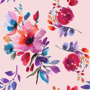 Multi Colorful Watercolor Florals on Pink Ground