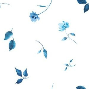 Tossed Porcelain Blue Florals