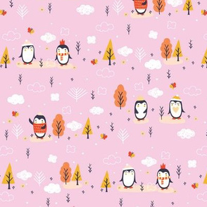 festive woodland penguins