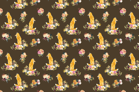 Fox Floral On Brown Smaller fabric by wrensroost on Spoonflower - custom fabric