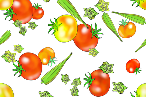 Edible Jewels tomatoes and okra fabric by beesocks on Spoonflower - custom fabric
