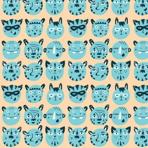 animal faces fabric // blue animal trendy hipster bear kids nursery baby design