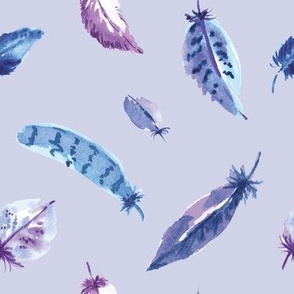 Blue Purple Feathers on Light Purple Ground