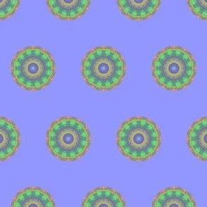 Green Kaleidoscope Dot on Purple