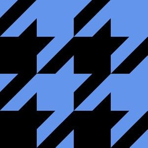 Three Inch Cornflower Blue and Black Houndstooth