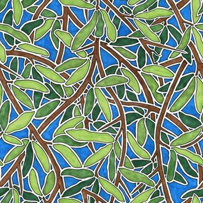 Interweaving Leaves and Branches with Blue Background