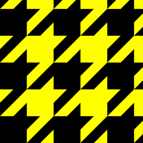 Three Inch Yellow and Black Houndstooth fabric by mtothefifthpower on Spoonflower - custom fabric