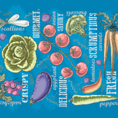 Fresh from Farm to Table Teatowel (peacock) by HelenPDesigns