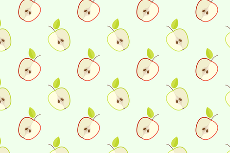 Ripe green and red apples pattern fabric by milagrosvita on Spoonflower - custom fabric