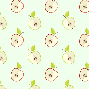Ripe green and red apples pattern