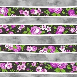 Wavy Floral Watercolour Stripes Purple & Grey