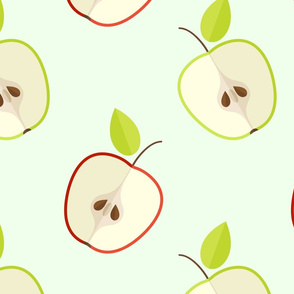 Ripe green and red apples pattern-ed