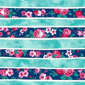 Wavy Floral Watercolour Stripes Mint Green Navy Blue