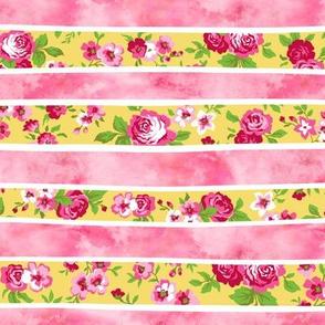 Wavy Floral Watercolour Stripes Pink & Yellow