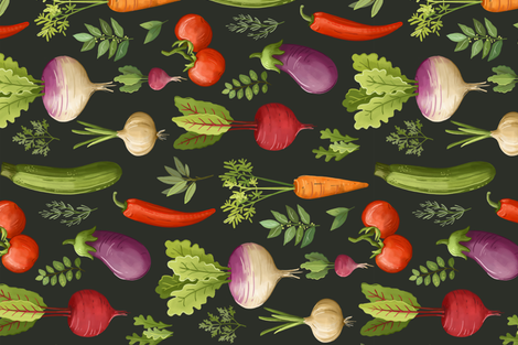 GardenVeggies_Repeat fabric by joypaton on Spoonflower - custom fabric