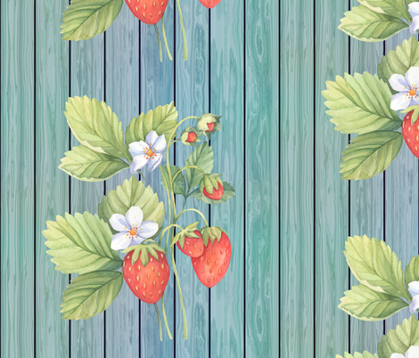WATERCOLOR LARGE STRAWBERRY MIX ON WOOD AQUA BLUE GREEN VERTICAL fabric by floweryhat on Spoonflower - custom fabric