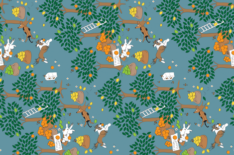 Dogs Citrus Orchard Fruit Picking fabric by colour_angel_by_kv on Spoonflower - custom fabric