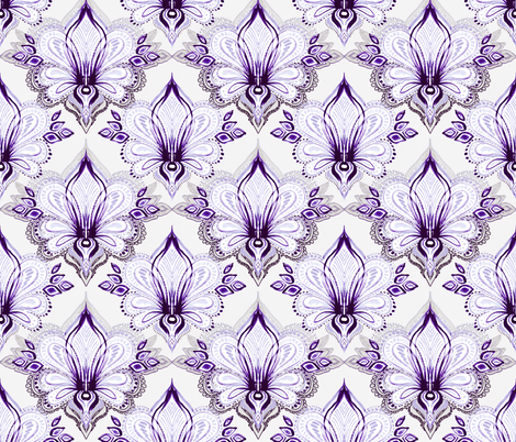 Lotus Abstract - purple fabric by micklyn on Spoonflower - custom fabric
