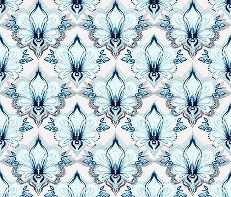 Lotus Abstract - cyan and grey fabric by micklyn on Spoonflower - custom fabric
