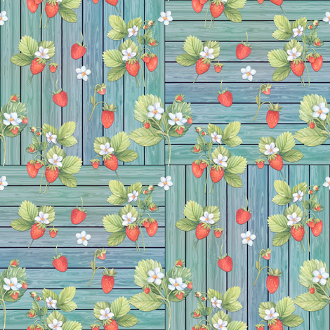 WATERCOLOR STRAWBERRIES MIX ON WOOD AQUA CHECKERBOARD fabric by floweryhat on Spoonflower - custom fabric