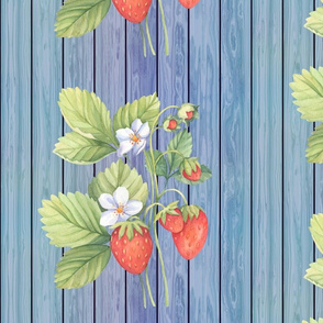 WATERCOLOR LARGE STRAWBERRY MIX ON WOOD BLUE VERTICAL