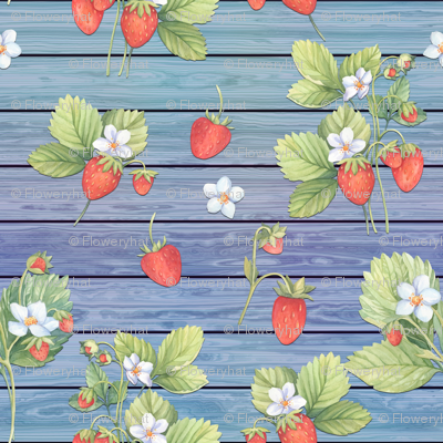 WATERCOLOR STRAWBERRIES MIX ON WOOD BLUE HORIZONTAL