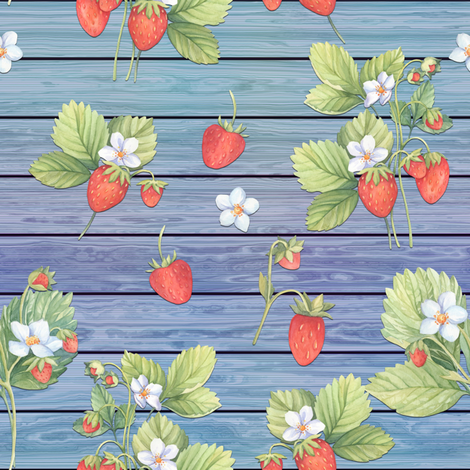 WATERCOLOR STRAWBERRIES MIX ON WOOD BLUE HORIZONTAL fabric by floweryhat on Spoonflower - custom fabric