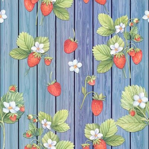 WATERCOLOR STRAWBERRIES MIX ON WOOD BLUE VERTICAL