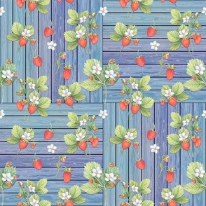 WATERCOLOR STRAWBERRIES MIX ON WOOD BLUE CHECKERBOARD