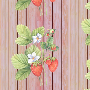 WATERCOLOR LARGE STRAWBERRY ON VERTICAL WOOD CORAL