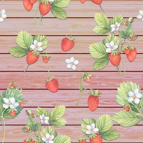 WATERCOLOR STRAWBERRIES MIX CORAL ON HORIZONTAL WOOD