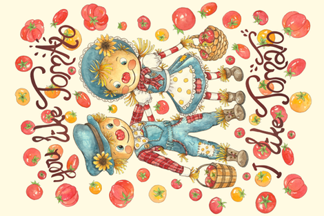 Tomato scarecrows fabric by lauraflorencedesign on Spoonflower - custom fabric