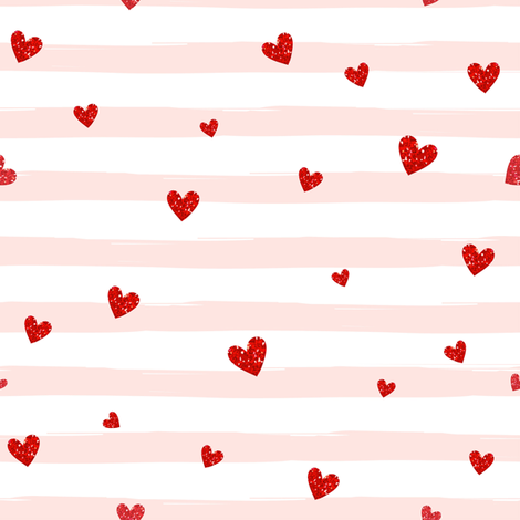 Red Confetti Hearts on Blush Stripes fabric by hipkiddesigns on Spoonflower - custom fabric