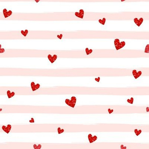 Red Confetti Hearts on Blush Stripes
