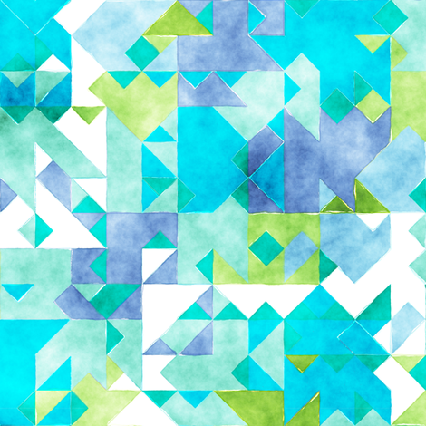 Scattered Watercolour Triangles Blue Green fabric by caja_design on Spoonflower - custom fabric