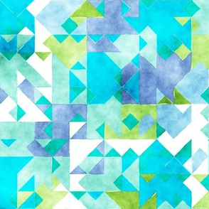Scattered Watercolour Triangles Blue Green