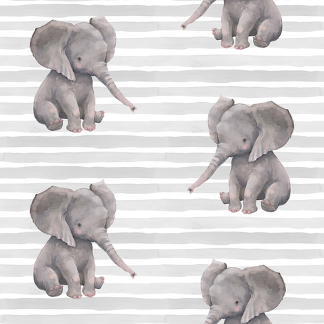 "8"" Elephant with Stripes fabric by shopcabin on Spoonflower - custom fabric"