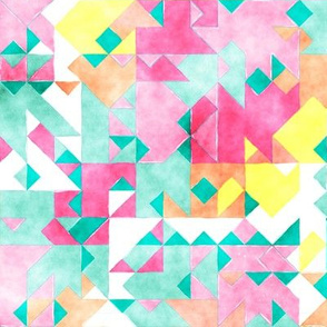 Scattered Watercolour Triangles Mint Green Pink Yellow