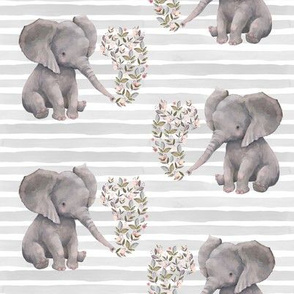 "8"" Floral Elephant with Stripes"