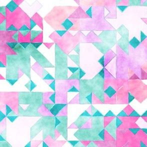 Scattered Watercolour Triangles Purple Pink Mint Green