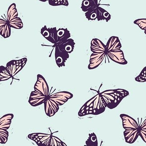 Vintage butterflies on mint