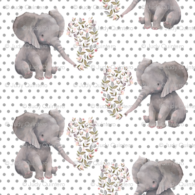"8"" Floral Elephant with Polka dots"